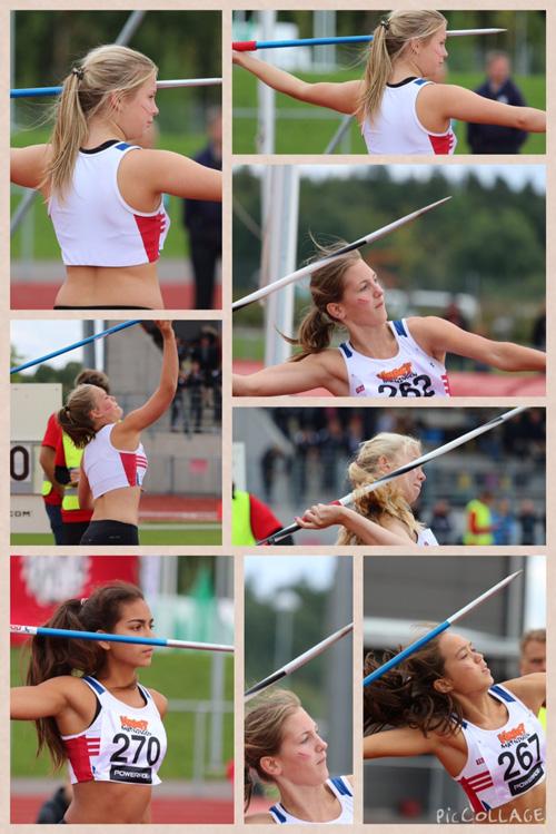 Collage från tjejernas spjutkastning