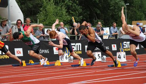 Victor Koch fick springa rena SM-finalen på 100 meter. Kling-Baptiste, Wissman, Hagberg o Sennung. Han gjorde dock en riktigt bra insats och tiden 11.40 skedde i rejäl motvind.